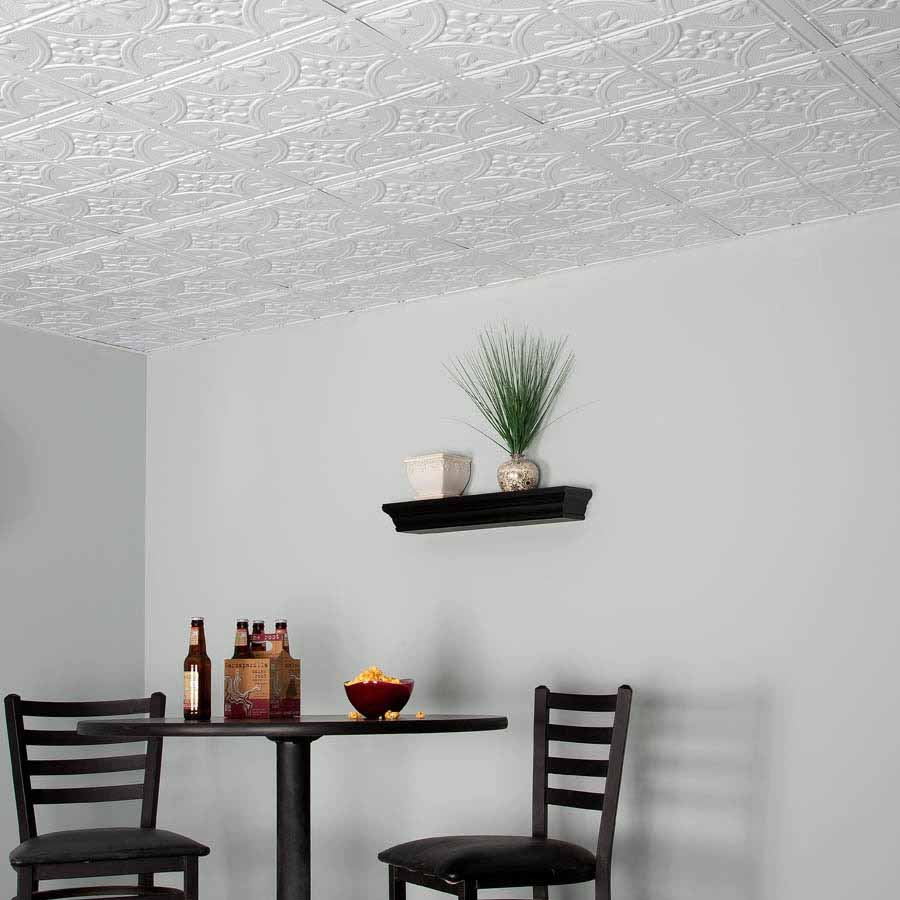 Genesis Ceiling Tile 2x2 Antique in White