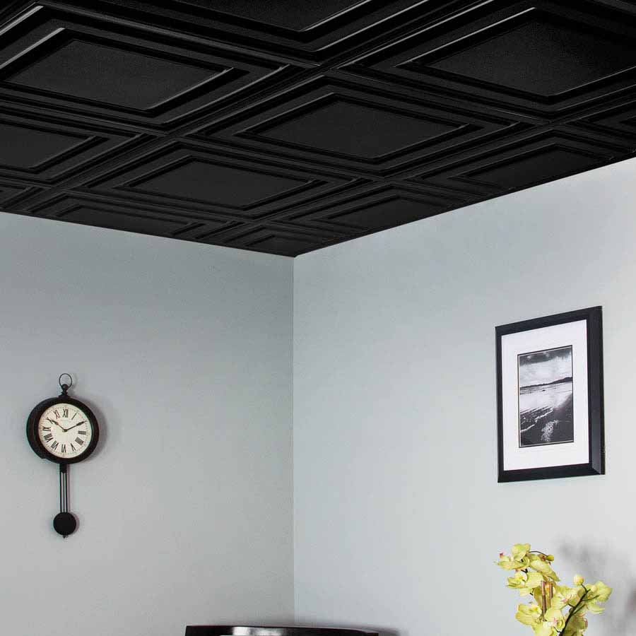 Genesis Ceiling Tile 2x2 Icon Relief in Black