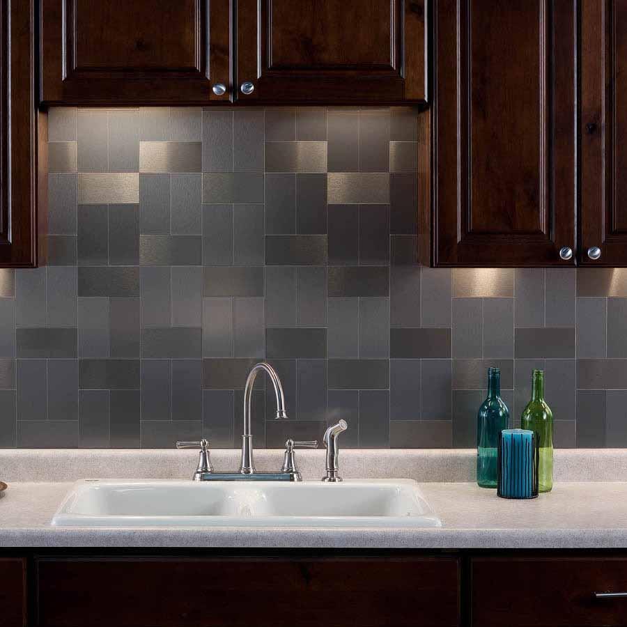 Aspect Backsplash-3x6 Brushed Stainless Long Grain Metal Tile