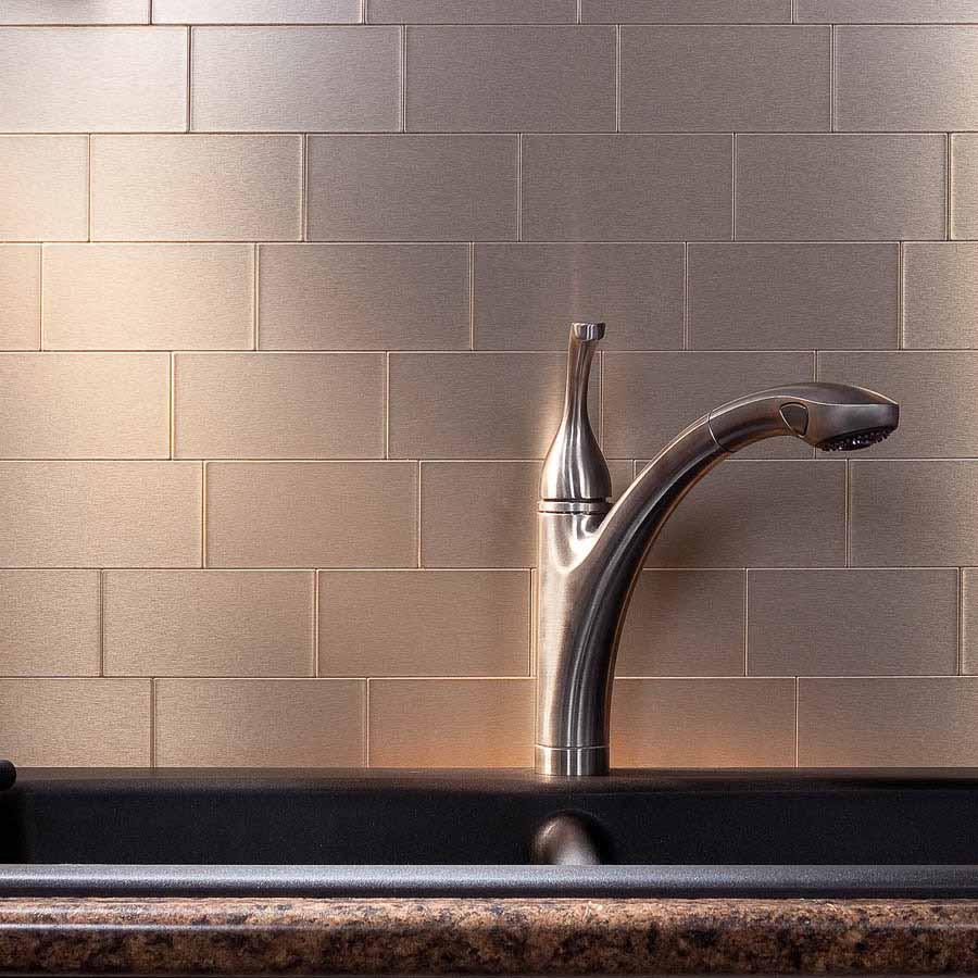 Aspect Backsplash-3x6 Brushed Champagne Long Grain Metal Tile