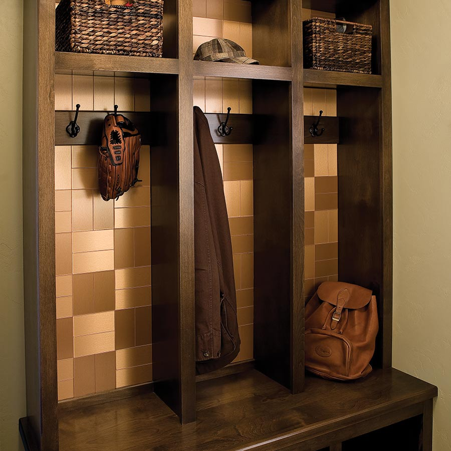 Aspect Metal Tiles on Coat Rack