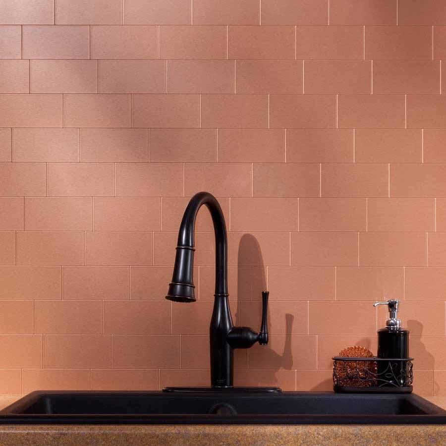 Aspect Backsplash-3x6 Brushed Copper Long Grain Metal Tile