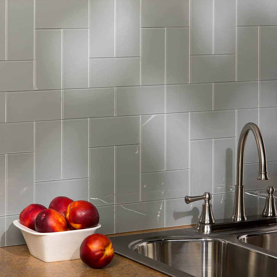 Aspect Backsplash-3x6 Glass Tile in Steel