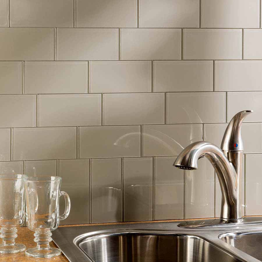 Aspect Backsplash-3x6 Glass Tile in Putty