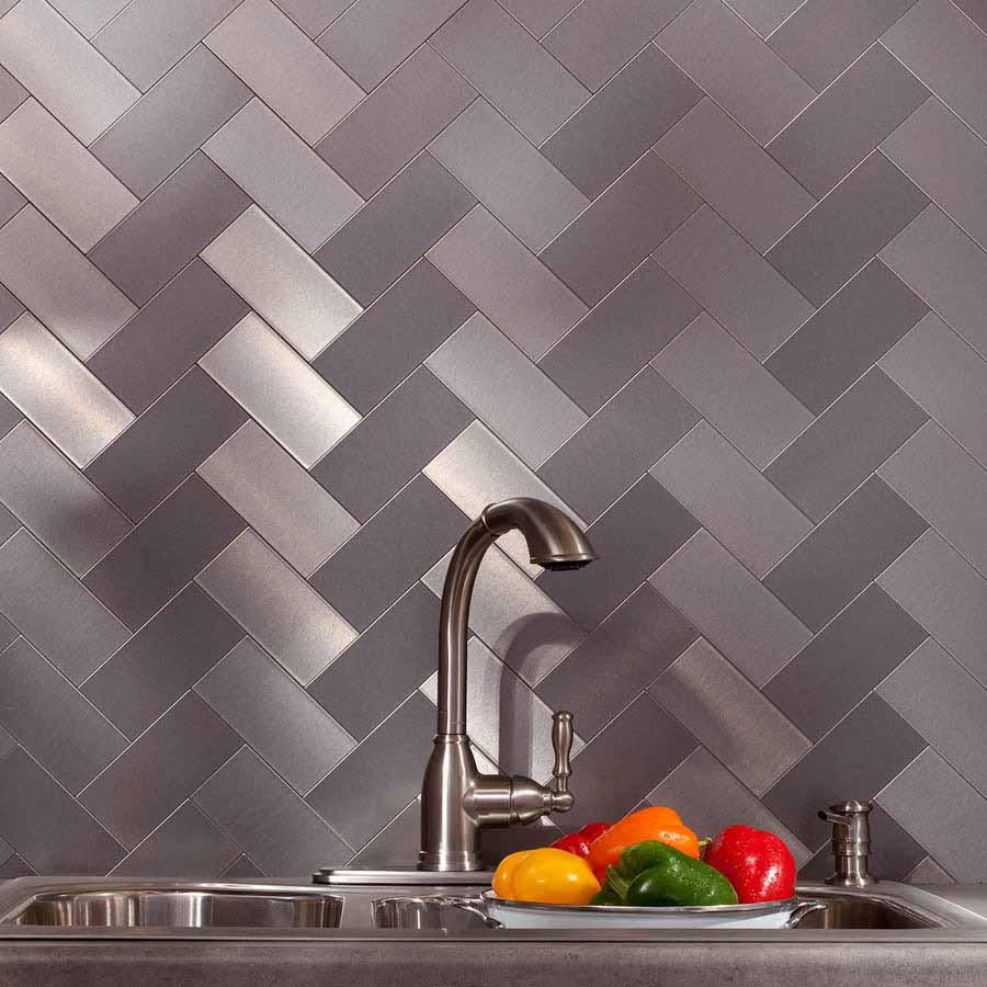 Aspect Backsplash-3x6 Brushed Stainless Short Grain Metal Tile