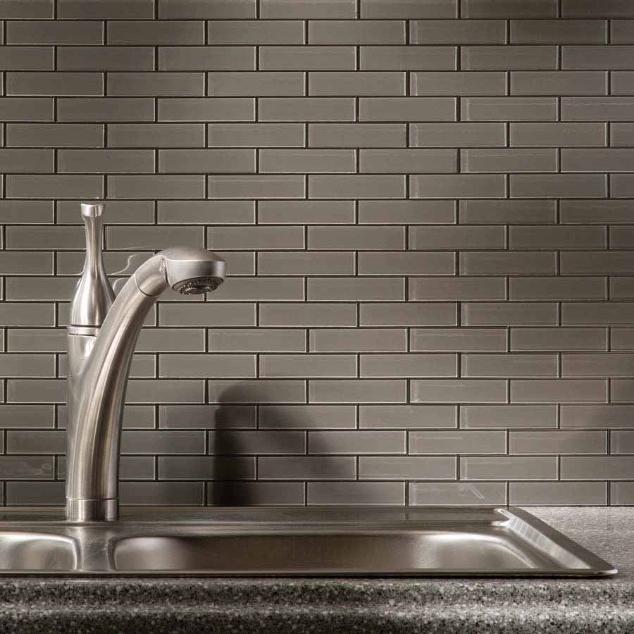 Aspect Backsplash-Mini Subway in Leather Glass Matted