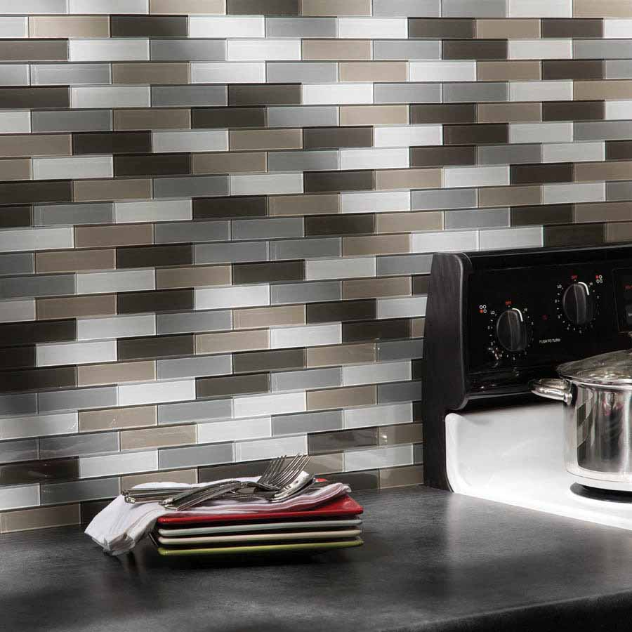 Aspect Backsplash-Mini Subway in Rustic Clay Glass Matted