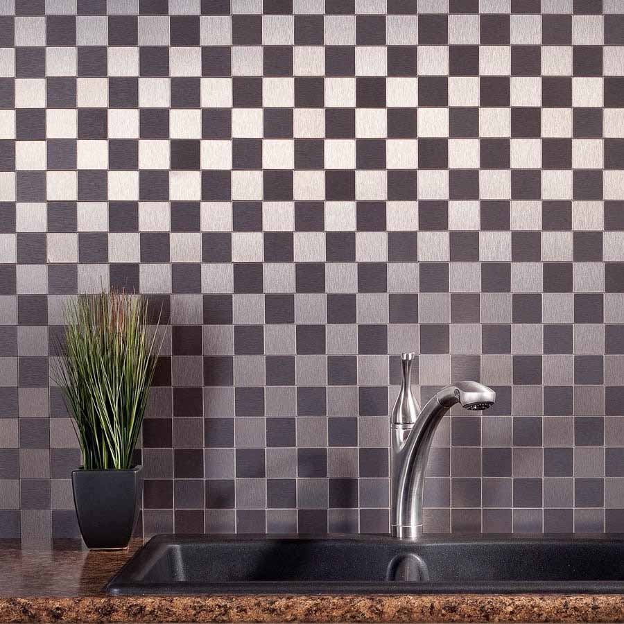 Aspect Backsplash-Square Brushed Stainless Matted