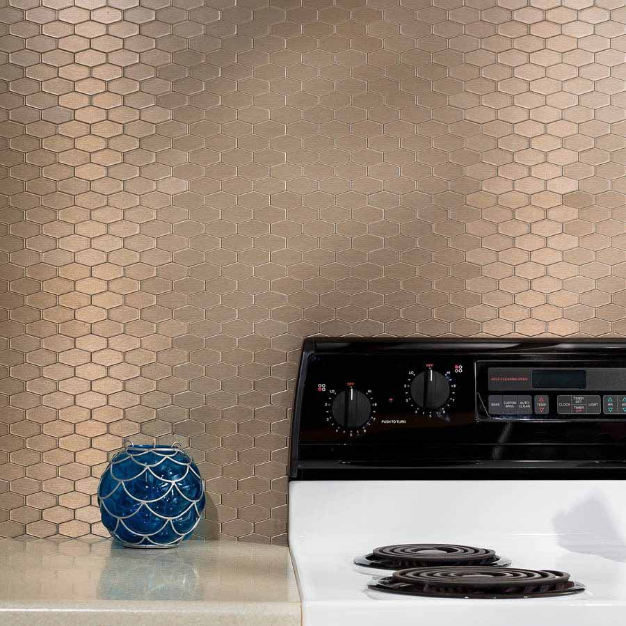 Aspect Backsplash-Wide Hex in Brushed Champagne Matted