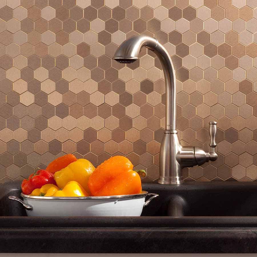 Aspect Backsplash-Honeycomb in Brushed Champagne Matted