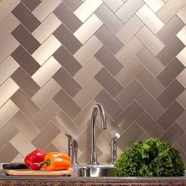Aspect 3x6 peel & stick metal tiles