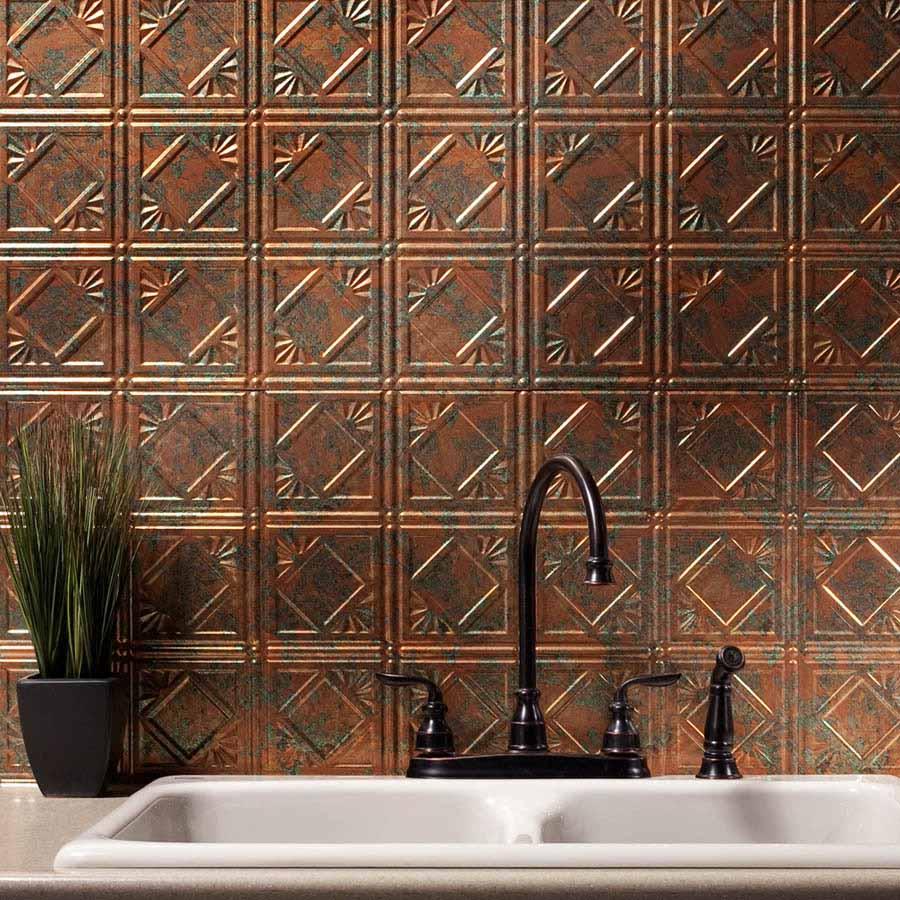 Fasade Backsplash - Traditional 4 in Copper Fantasy