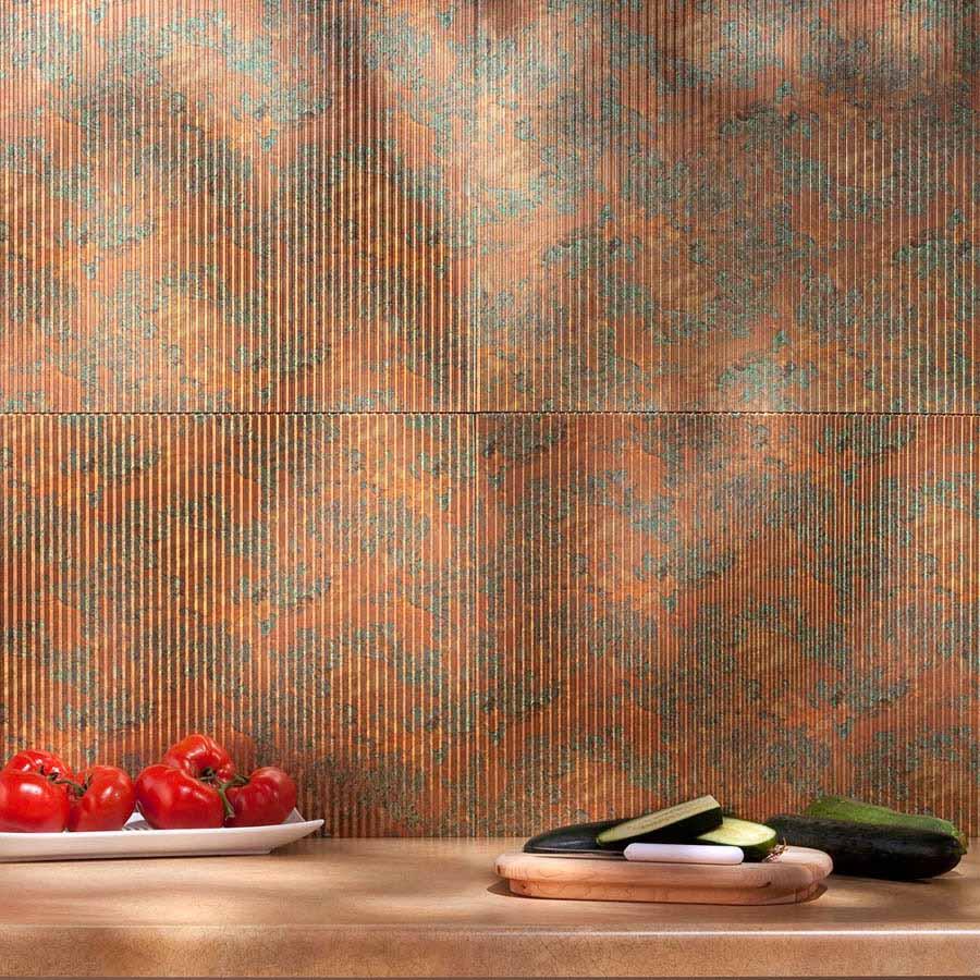 Fasade Backsplash - Rib in Copper Fantasy