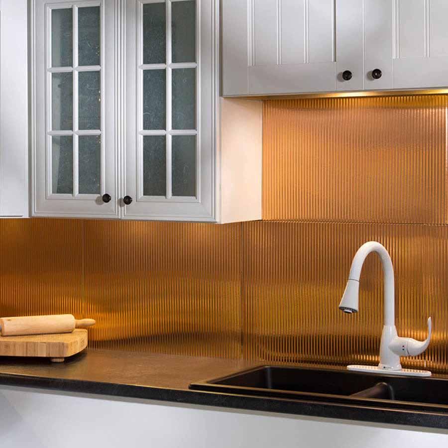 Fasade Backsplash - Rib in Polished Copper
