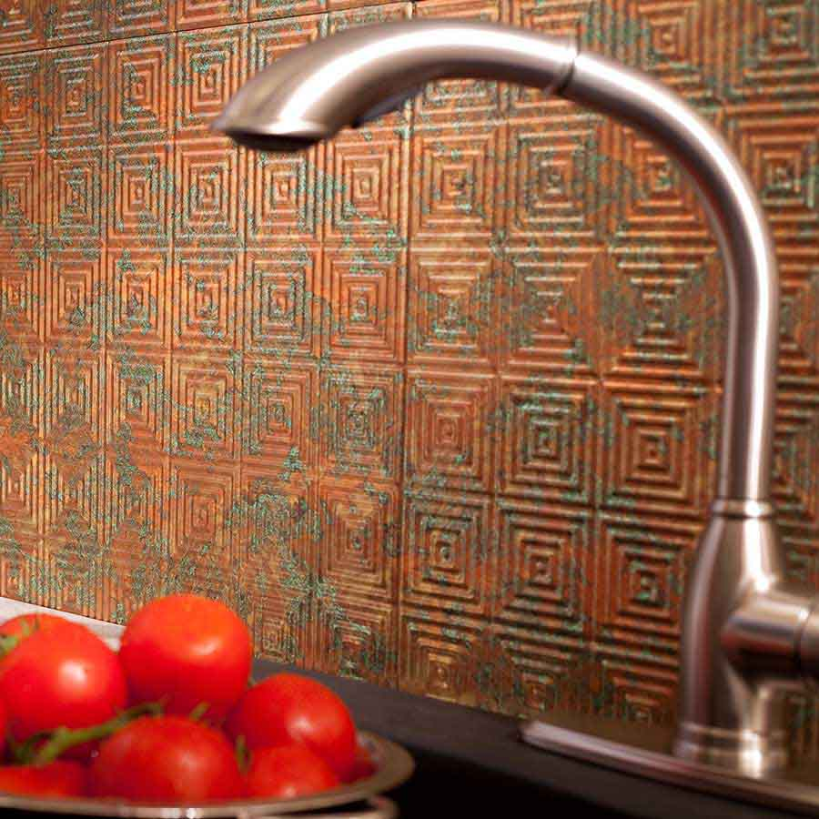 Fasade Backsplash - Miniquattro in Copper Fantasy