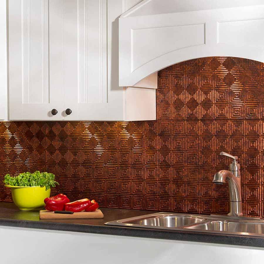 Fasade Backsplash - Miniquattro in Moonstone Copper
