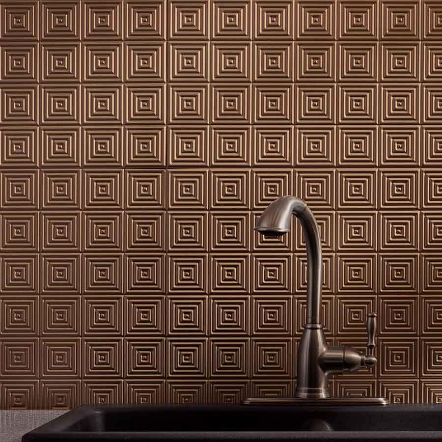 Fasade Backsplash - Miniquattro in Antique Bronze