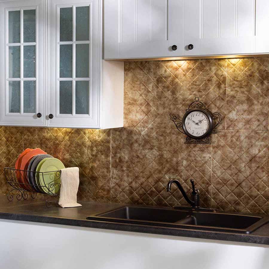 Fasade Backsplash - Quilted in Bermuda Bronze