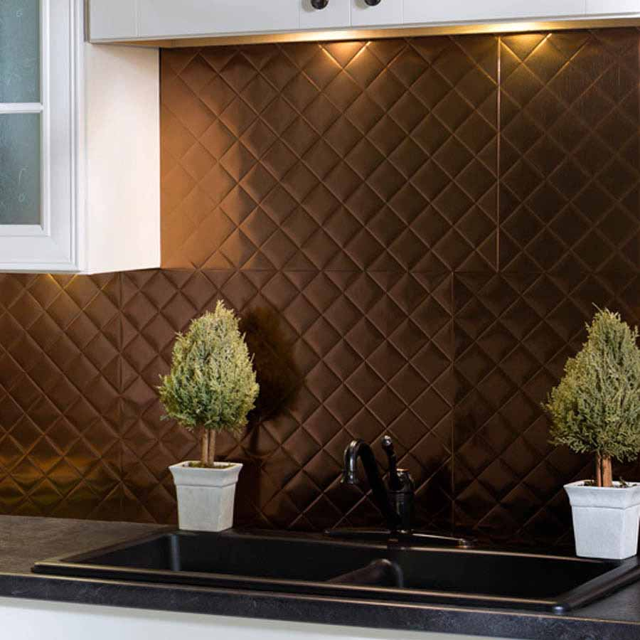 Fasade Backsplash - Quilted in Oil-Rubbed Bronze