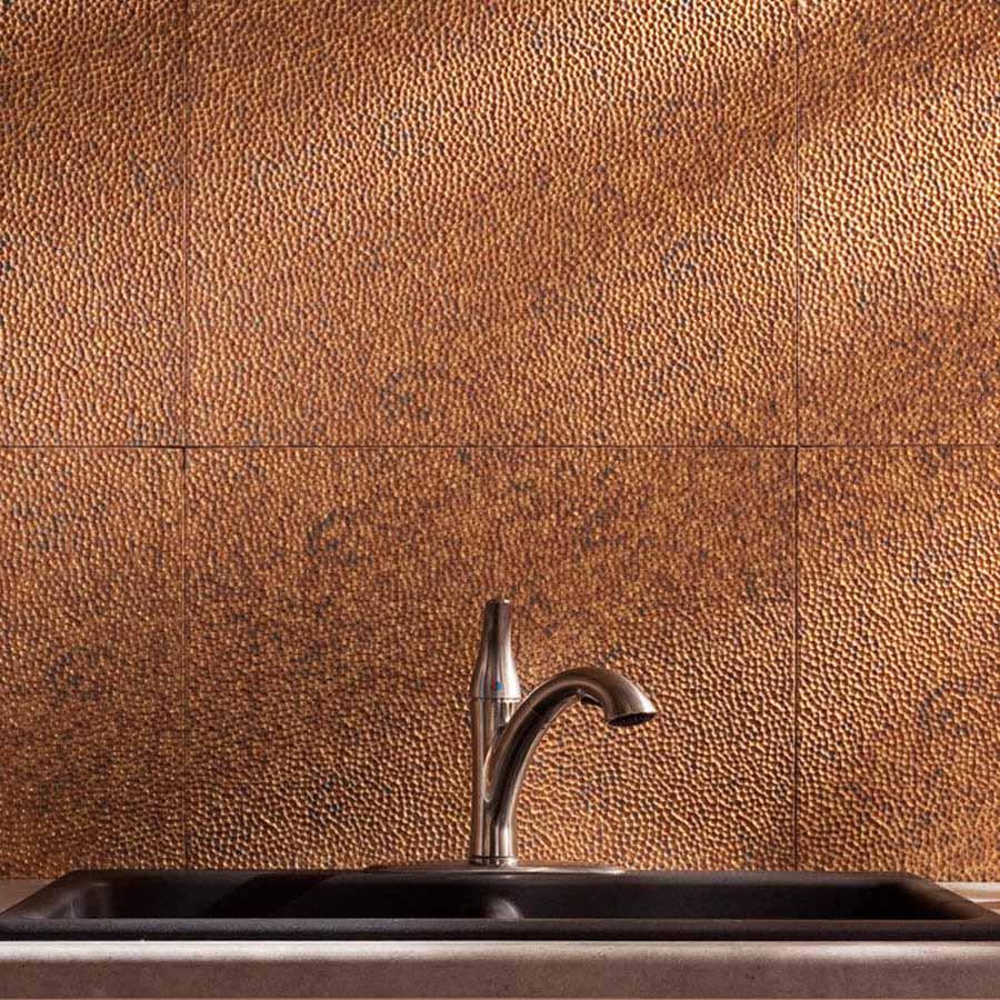 Fasade Backsplash - Hammered in Cracked Copper