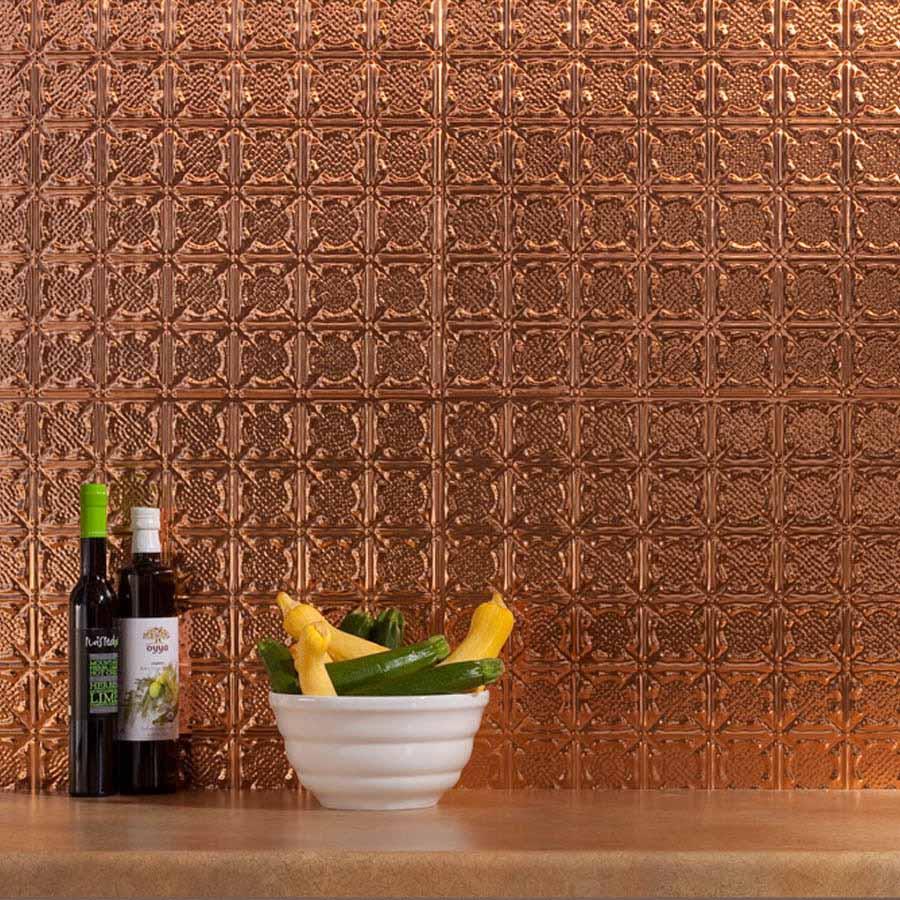 Fasade Backsplash - Traditional 6 in Polished Copper