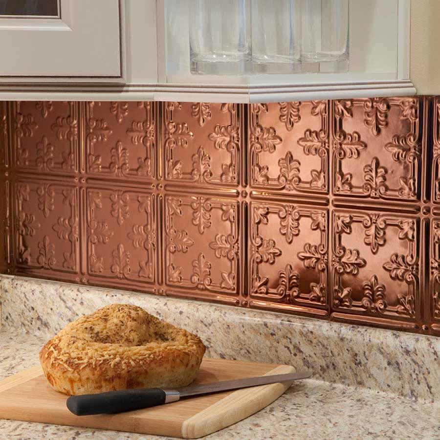 Fasade Backsplash - Traditional 10 in Polished Copper