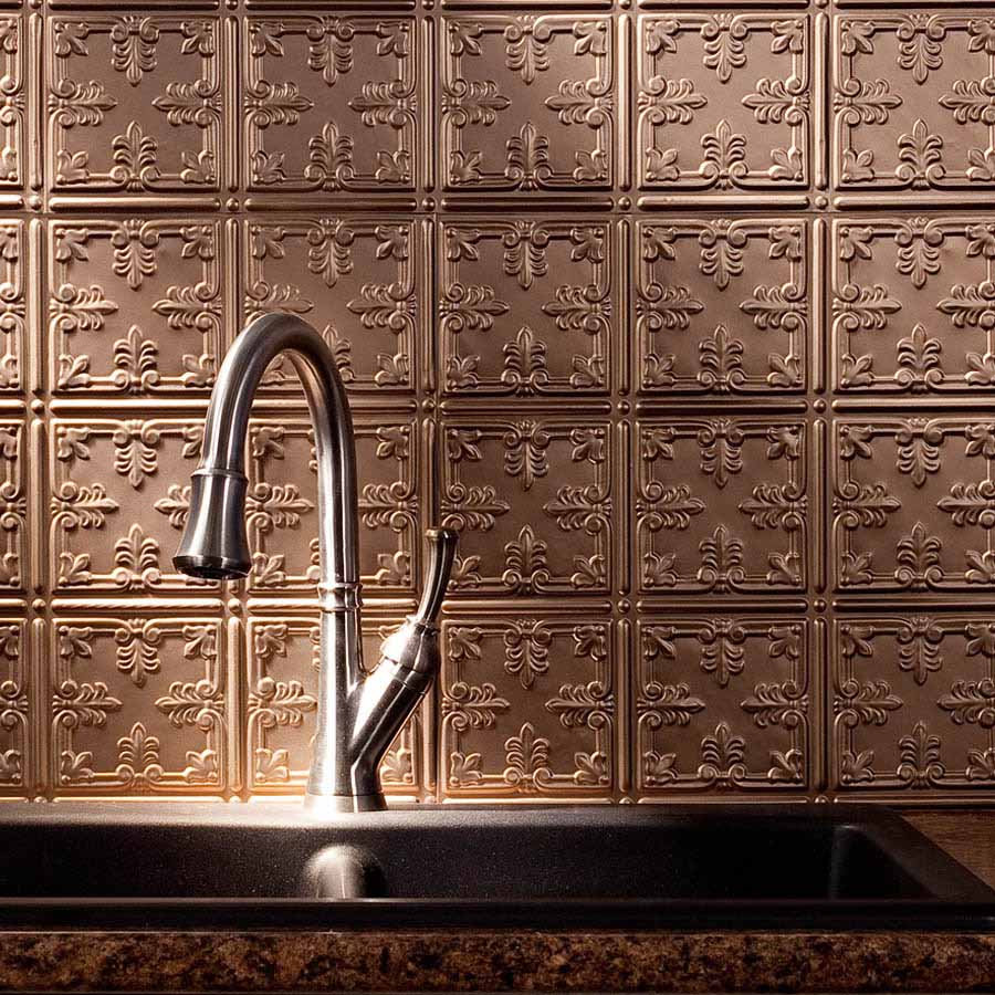 Fasade Backsplash - Traditional 10 in Argent Bronze