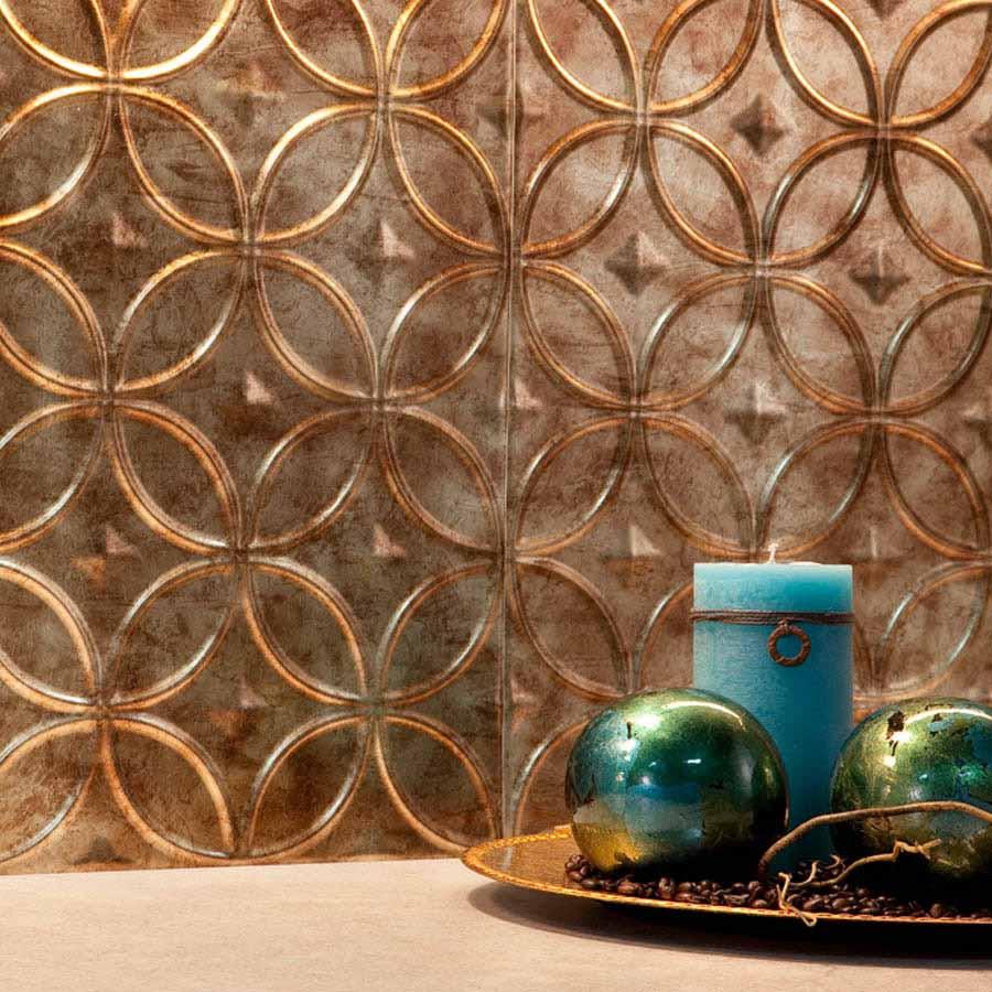 Fasade Backsplash - Rings in Bermuda Bronze
