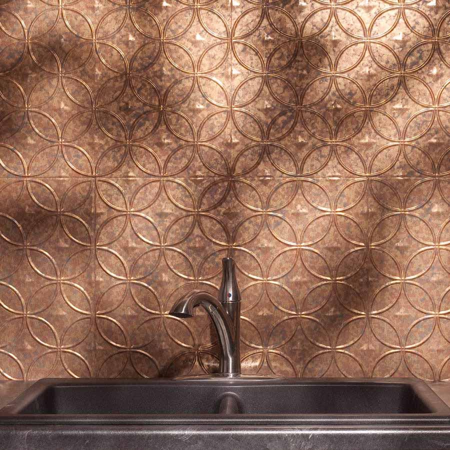 Fasade Backsplash - Rings in Cracked Copper