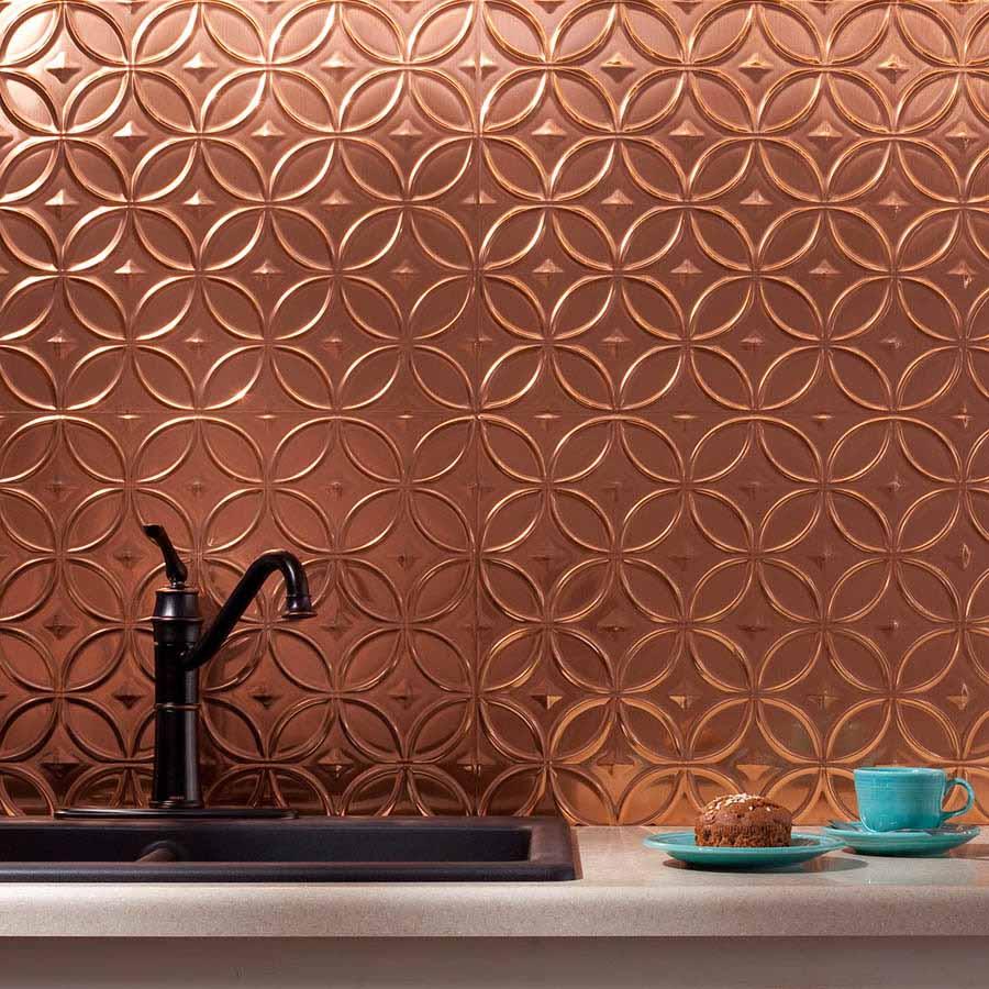 Fasade Backsplash - Rings in Polished Copper
