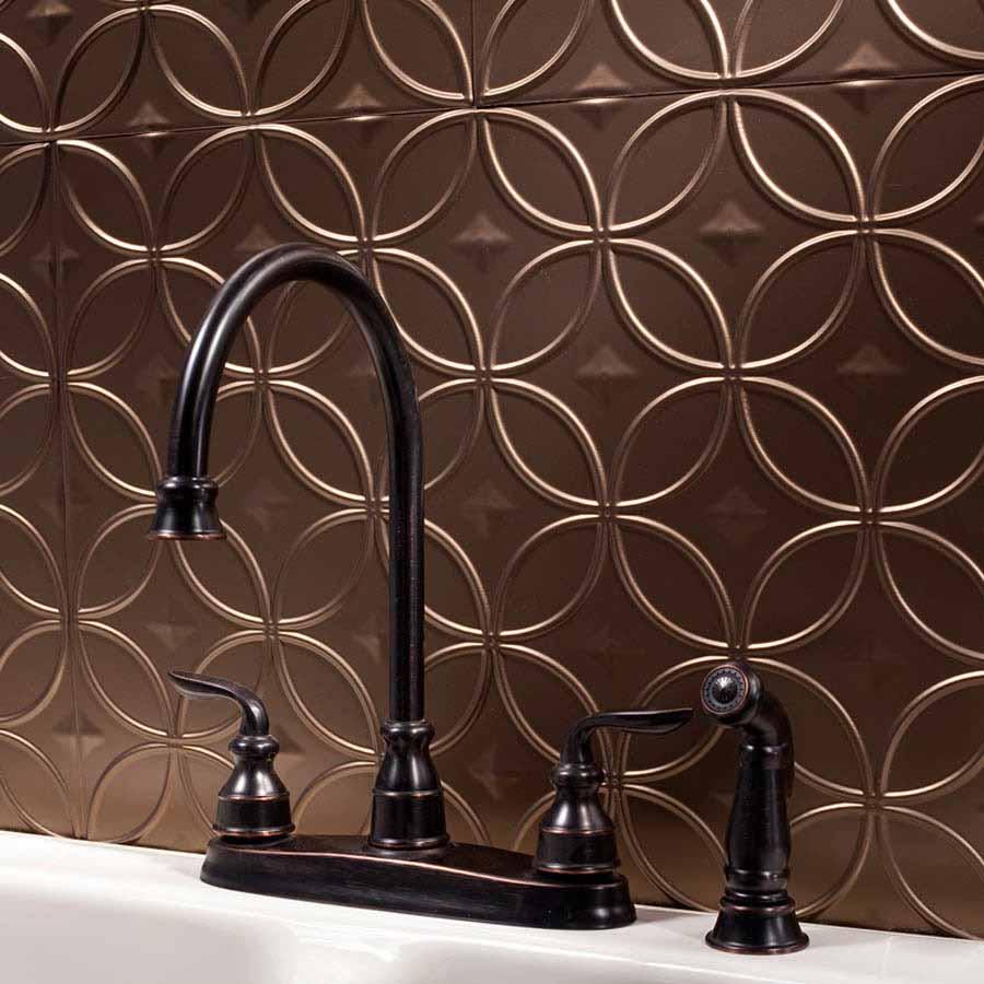 Fasade Backsplash - Rings in Argent Bronze