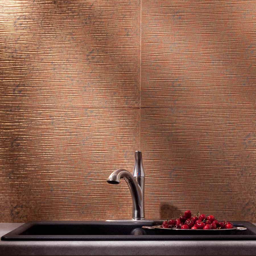 Fasade Backsplash - Ripple in Cracked Copper