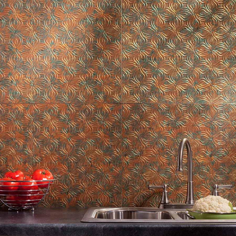 Fasade Backsplash - Lotus in Copper Fantasy