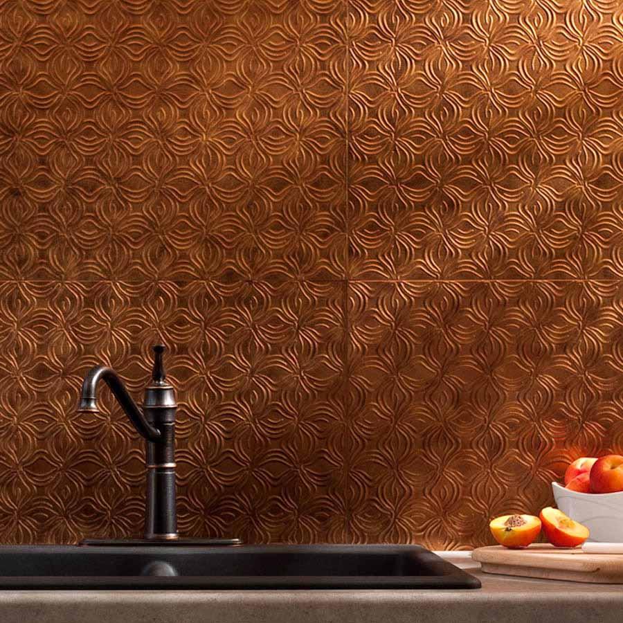 Fasade Backsplash - Lotus in Antique Bronze