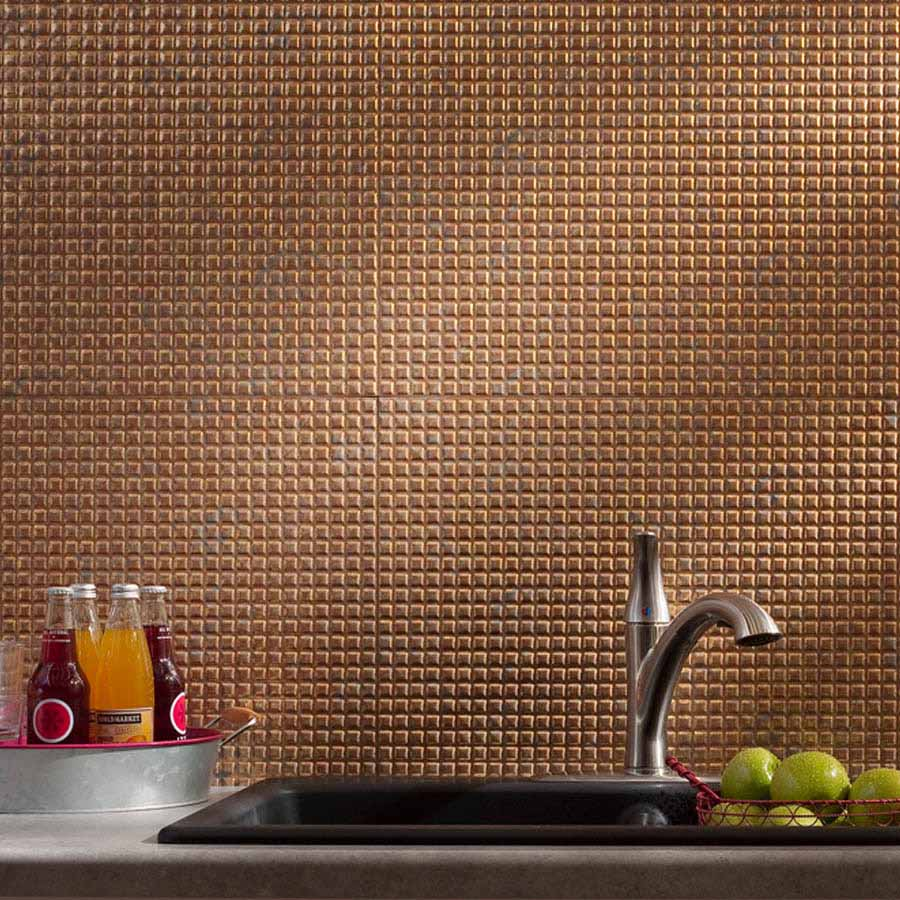 Fasade Backsplash - Square in Cracked Copper