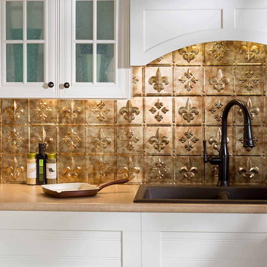 Fasade Backsplash - Fleur de lis in Bermuda Bronze