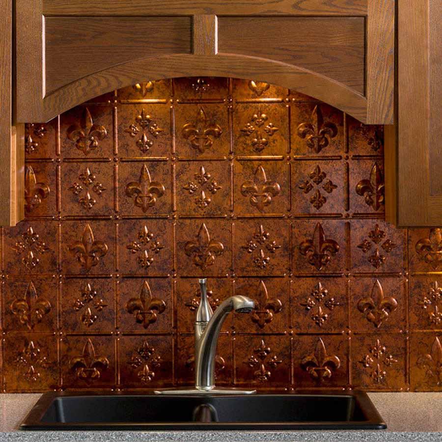 Fasade Backsplash - Fleur de lis in Moonstone Copper