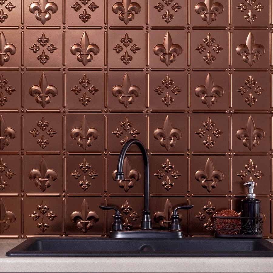Fasade Backsplash - Fleur de lis in Oil-Rubbed Bronze