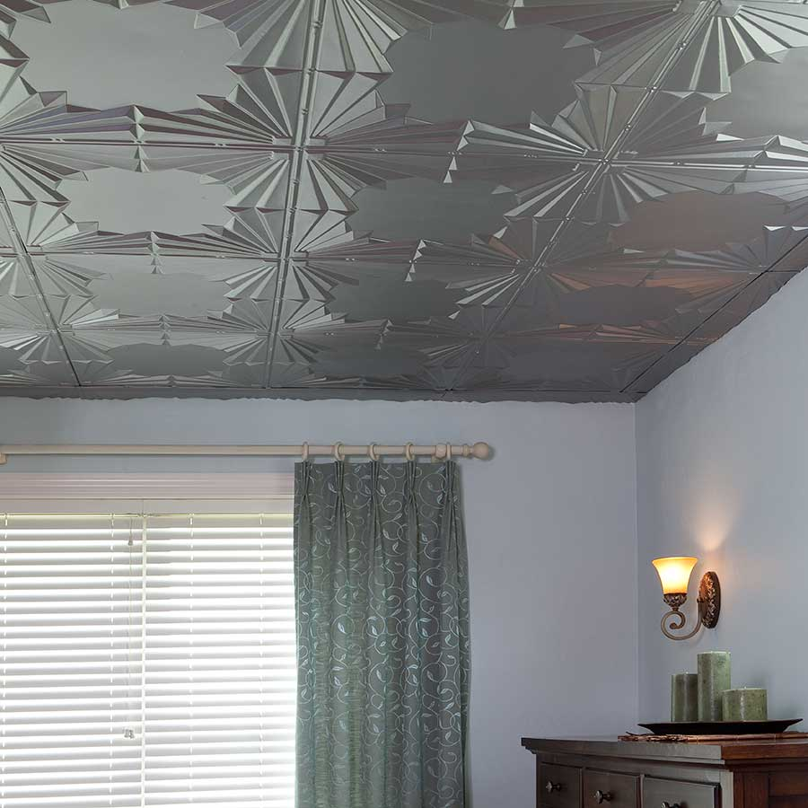 Fasade Ceiling Tile-2x4 Direct Apply-Art Deco in Argent Silver