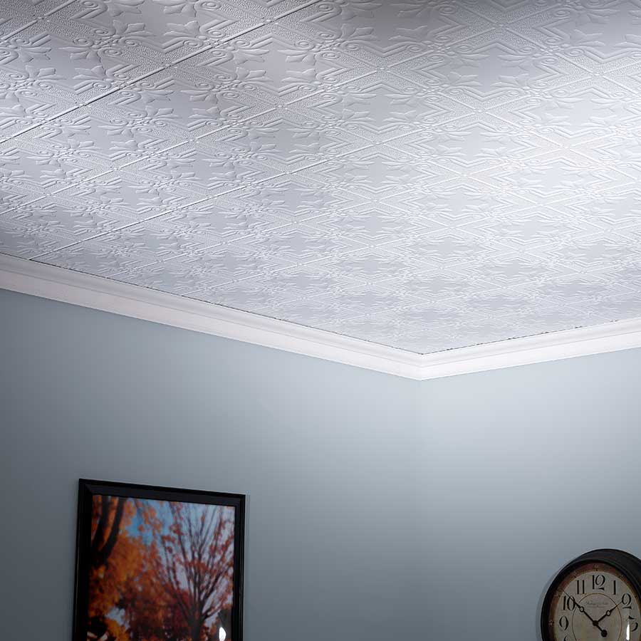 Fasade Ceiling Tile-2x4 Direct Apply-Regalia in Matte White