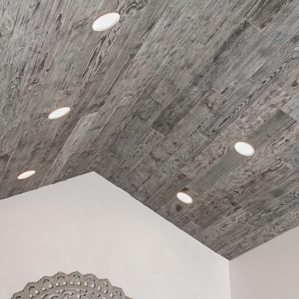 Rustic Grove Planks on Ceiling in Dark Gray