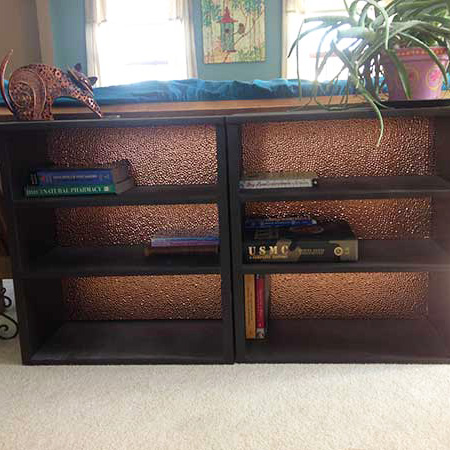 Book Case with Fasade Hammered in Polished Copper